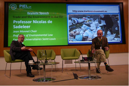 Keynote Professor Nicolas de Sadeleer answers questions on Trade and Environment in the EU in a session chaired by Professor William Howarth of the University of Kent